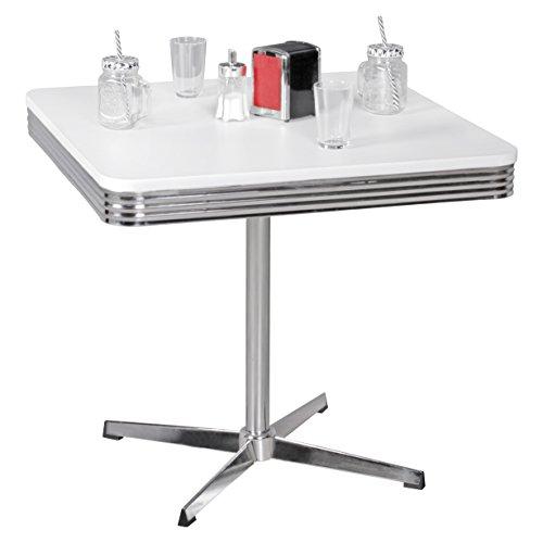 Wohnling Elvis - American Diner Esstisch, 80 x 76 x 80 cm aus MDF/Aluminium, Robuster Bistro-Tisch im Stil der 50er Jahre, Esszimmertisch mit Untergestell aus verchromtem Alu, (Tisch Diner 50er)