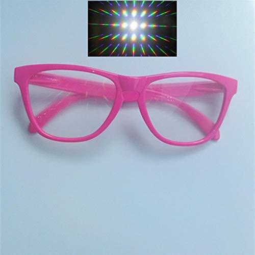 5er Premium Ultimate Diffraction Brille - 3D Rave Prism Grating Brille Rainbow Fireworks 13500 Linse Für Party Und Dance Event (Color : Pink Frame)