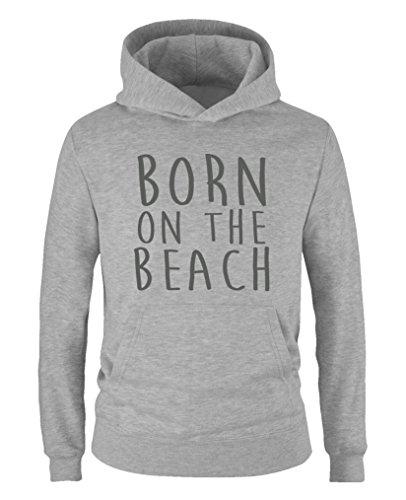 Comedy Shirts - Born on The Beach - Jungen Hoodie - Grau/Grau Gr. 98/104 -