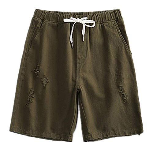 GIRLXV Sommer Shorts Mann Vintage Jeans High Stretch Elastische Hosen Lässig Mann In Leinen Bequemen Stil Elastische Taille Seil Klemmhose Strand Sport Lässig -