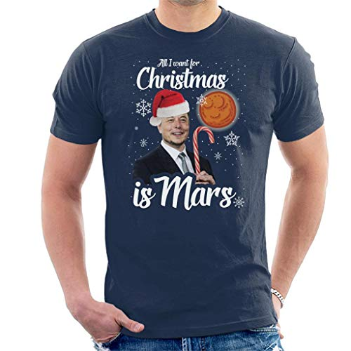 Cloud City 7 Elon Musk All I Want for Christmas is Mars Men\'s T-Shirt