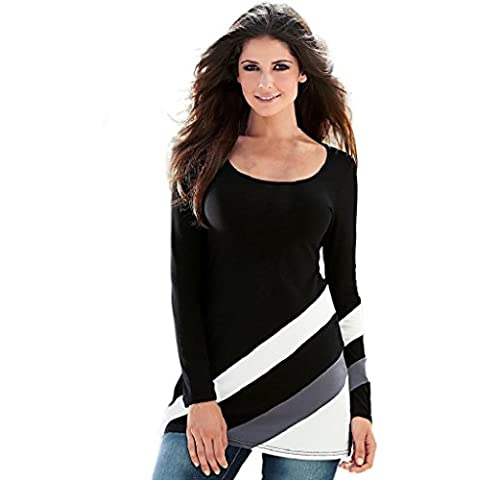 OverDose Atractiva de las mujeres de la raya empalmado Ronda de manga larga blusa de cuello jersey camiseta de las