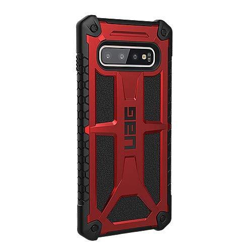 Urban Armor Gear Monarch Hülle für das Samsung Galaxy S10+ / S10 Plus nach US-Militärstandard [Qi kompatibel, Verstärkte Ecken, Leder] - rot (crimson)