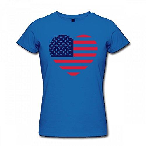 qingdaodeyangguo T Shirt For Women - Design America Heart Shirt blue