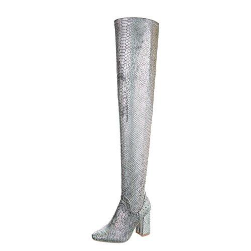 Silber Schnalle Stiefel (Ital-Design Overknees Damen-Schuhe Overknees Pump High Heels Reißverschluss Stiefel Silber, Gr 37, Jr-011-)