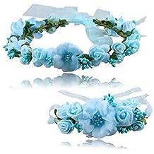 Atrezzo Novia Comunion Damas de Honor madrinas de diadema corona de flores azules y pulsera con cierre cinta gasa diseños ideales novedad 2018 de OPEN BUY