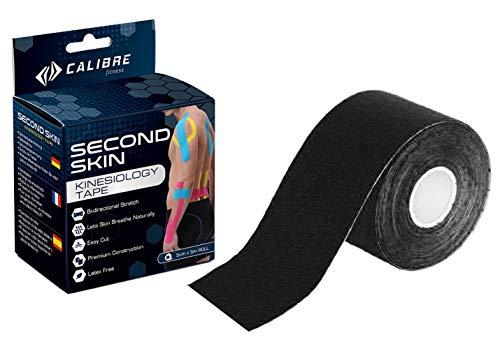Calibre Fitness Second Skin Nastro kinesiologico - Sostegno articolazioni con capacità di Resistenza sviluppato scientificamente - Aumento della Forza - Garantito dal Produttore (Nero)