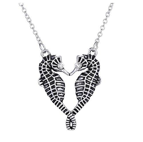 ilber, Schwarz, Paar Hippocampus Seepferdchen Halskette Kette Anhänger Crystal Diamante Herren-Kostüm–Schmuck für Frauen Mädchen (Seepferdchen Kostüm Kostüm)