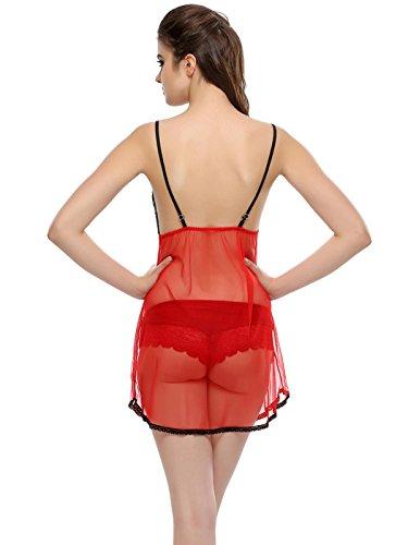 Clovia - Chemise de nuit - Femme Rouge - Rouge