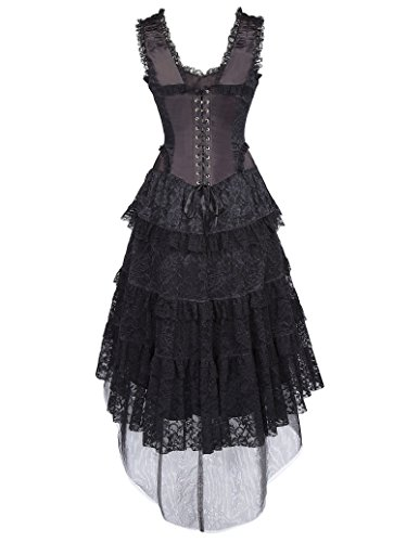 kleid schwarz viktorianisches kleid damen gothic kleid L BP353-1 (Gotische Viktorianische Kostüme)