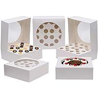 Kurtzy 5 PC Cupcake Boxes - Cupcake Holder 28.5 x 28.5cm Almacena hasta 20 Cupcakes