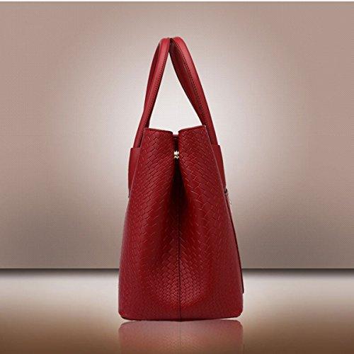 WU ZHI Borse Da Donna Autunno E In Inverno Tessuto Pattern Shells Borse Borsa In Pelle PU Soft Messenger Red