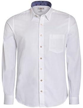 Almsach Trachtenhemd Regular Fit Zweifarbig in Weiß und Blau