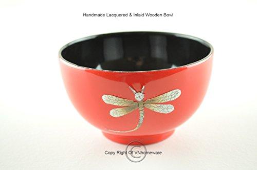 Fait à la main laque Bol en bois incrusté Egg-shell, décoratifs et bol de service, Rouge/noir, H018