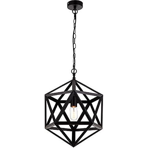LIVY Loft di rombo sfaccettato Lampadario paese americano creativo lampada da tavolo di ferro industriale Café - Vintage Sfaccettato Nero Vetro