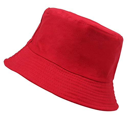 WUSYO Fisherman Hat Folding Hat Spring Summer Sonnenschirm-Hut im Freien, rot (Rot Neue ära Hut)