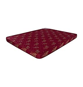 Shagun 4-Inch Rubberised Coir Mattress (Maroon, 72x48x4 Inch)