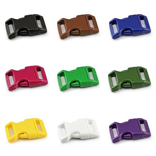 Klickverschluss Farb-Mix Set 3/4' (20mm breit) aus Kunststoff / Klippverschluss / Steckschließer / Steckverschluss für Paracord-Ärmbänder, Hunde-Halsbänder,...