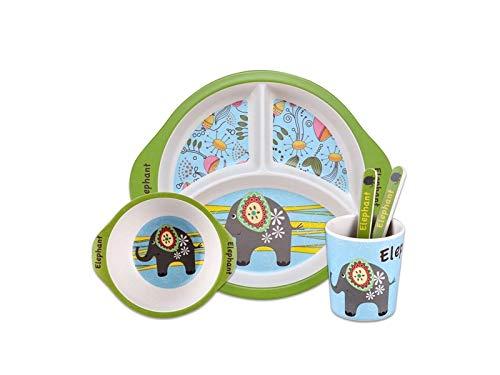 FERFERFERWON Baby Tischset Bambusfaser Elefant Form Gericht Kinder Platte Gabel Löffel Cup Set für Kinder Kleinkind Kinder Gabel Cup Set