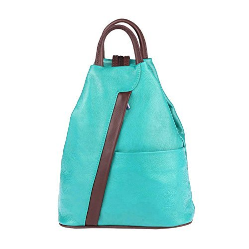 OBC Made in Italy Cuir Véritable Pour Femme Sac à dos Mini sac à dos Sac à dos cuir Sac En Bandoulière Sac en cuir sac à dos Sac à main Cuir nappa - turquoise-marron, env. 25x30x11 cm (LxHxP)