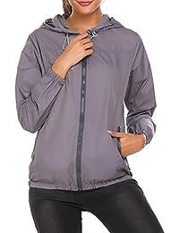 Meaneor Chaqueta Impermeable de Lluvia para Mujer Abrigo Ligero al Aire  Libre 921165d10877
