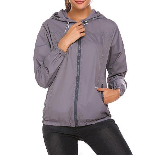 Meaneor Basic Femme Veste/blouson Coupe-vent Imperméable veste Imperméable avec capuche, Gris, L