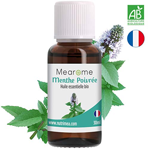 Huile Essentielle de MENTHE POIVRÉE BIO - 30 ml - 100% Pure et Naturelle - HEBBD -...