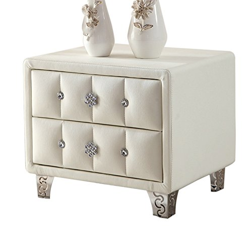 Nachttische Leder Weiß Schlafzimmer Schubladenschrank