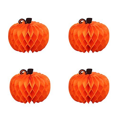 (BESTOYARD Halloween Kürbis Anhänger Honeycomb Ball Kürbis Dekoration Papier Waben Ball Ghost Festival Dekoration Anhänger 4 Stück (Orange))