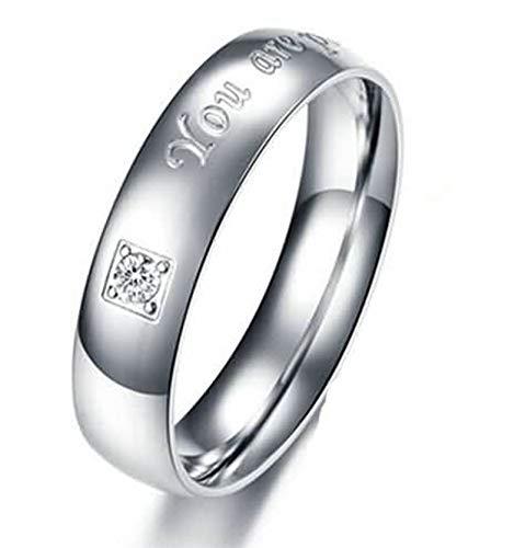 (Beydodo Edelstahl Ring Verlobungsringe für Herren Kristall Weiß Freundschaftsring Ring Gr.60 (19.1))