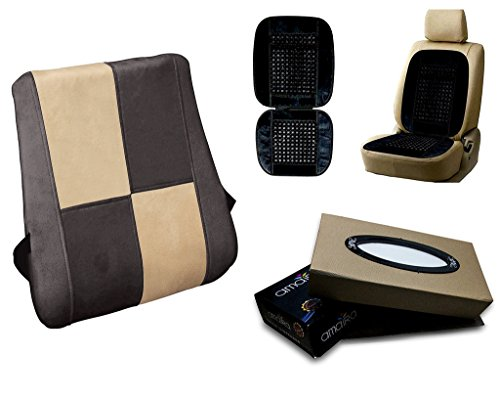 Autopearl Auto Pearl Premium Quality Combo Of Premium Quality Orthopaedic Velvet Memory Foam Backrest For Car/Home/Office. Chess Beige Grey. & Car Bead Seat Velvet Black. & Car Tissue Paper Box Beige.