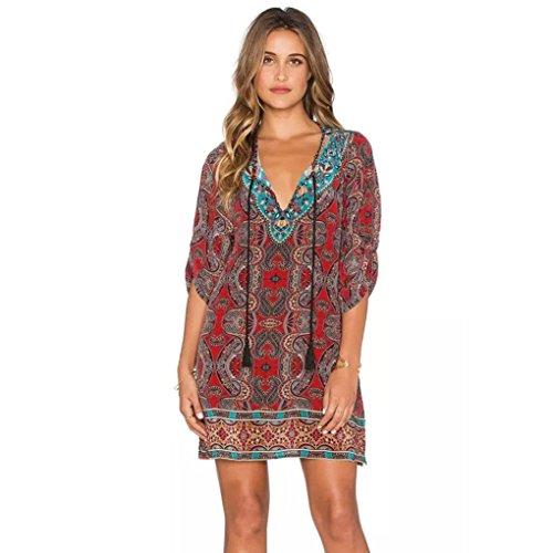 Robe Femme Koly Femmes Bohemian Cravate Vintage Imprimé Style Ethnique Shift Summer Dress Rouge