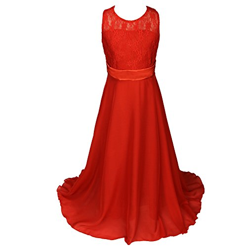 Discoball Girls Lace Dress Chiffon Gown Floor Length Wedding Bridesmaid Flower Girl Long Red 13 14years