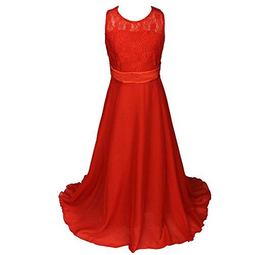 Discoball girls lace dress chiffon abito da pavimento lunghezza abito da sposa o damigella d' onore fiore ragazza vestito lungo (10colori, età 5–anni) red 13-14anni