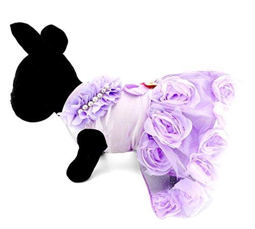 Purple Christmas Holiday Kleid (ranphy Kleiner Hund Kleidung für Mädchen Sommer Satin Hund Hochzeit Party Kleid Schleife Perlen Blumen Tutu)