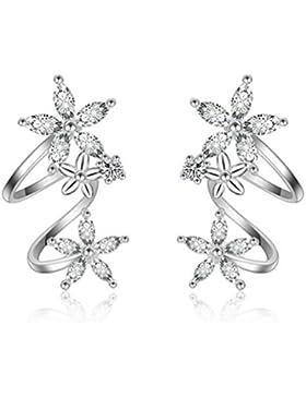 Ohrstecker Damen mädchen 925er Sterling Sliber mit Bling-Zirkonia schneeflocke Blumen Einfache Ohrringe