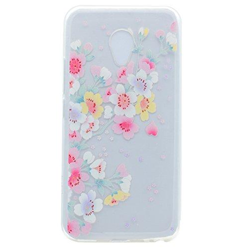 ZeWoo Custodia in silicone TPU per Meizu M5s(5.2 inches) -- TT006 fiori di ciliegio