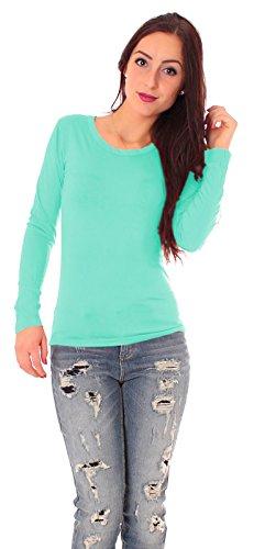 Damen Jersey Langarm Basic T-Shirt mit Rundhals lang Ausschnitt rund Top dünnes Shirt einfarbig uni 1/1 Arm langärmlig Gr 38 / M - hell türkis Aqua