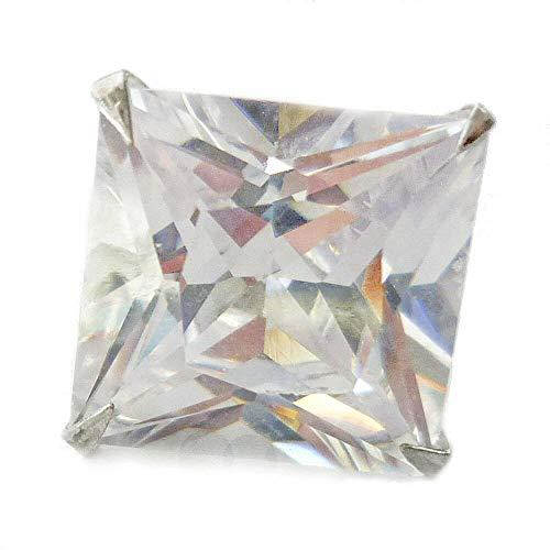 Para hombre de plata de ley 10 mm corte princesa circonitas cúbicas imitación de diamante cuadrado (CZ) pendiente de botón (individual) - estilo Beckham
