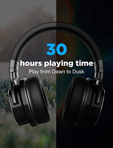 cowin E7 PRO [2018 aktualisiert] Active Noise Cancelling Bluetooth Kopfhörer mit Mikrofon Hi-Fi Deep Bass Wireless Kopfhörer über Ohr 30H Spielzeit für Reisen Arbeit TV Computer Telefon(Schwarz) - 8