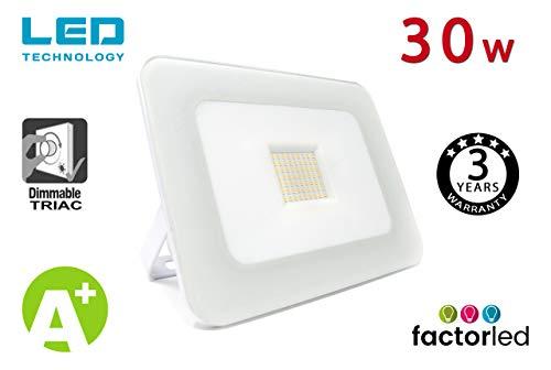 FactorLED Foco Proyector 30W LED Luxury Blanco, Iluminación Exterior 3000Lm, Dimable TRIAC,...