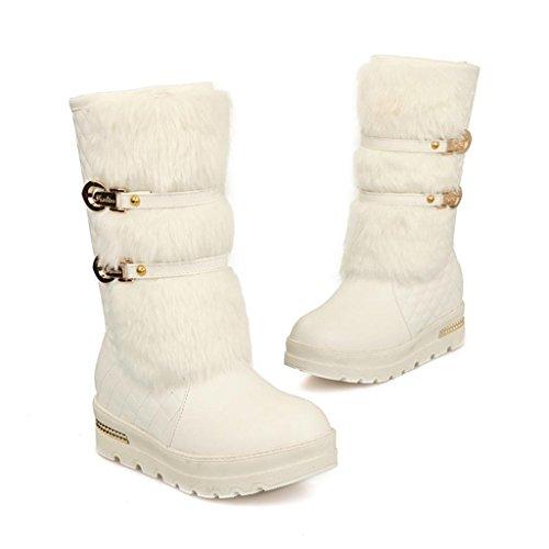 Zapatos De Mujer De Ancho Ancho Botas De Nieve Con Mangas Ocultas Hebilla De Cinturón En El Tubo Blanco De Boots