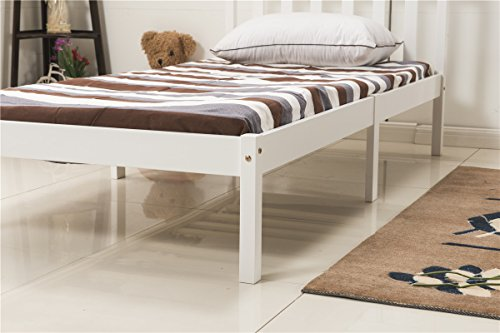 YAKOE 3FT Single Bed Frame Pine Wooden Finished Bedroom Furniture, White