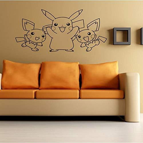 Wandtattoo Wohnzimmer Wandtattoo Schlafzimmer Pikachu-lustige amüsante Tierzeichentrickfilm-Anime-Haushaltswaren-Raumgestaltung