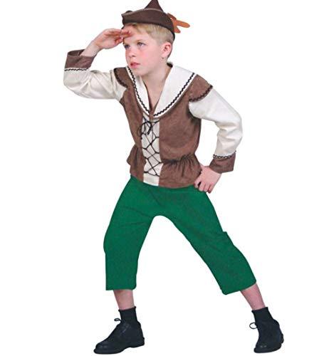 KarnevalsTeufel Kinderkostüm Robin 2-teilig Hose und Oberteil in grün-braun-weiß Retter der Armen Meisterdieb Verkleidung