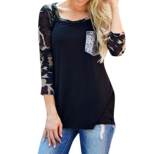 ZEARO Damen T-Shirt Bluse Pullover Tarnung gedruckt Kontrast Herbst Langarm Slim Tops Shirts Schwarz