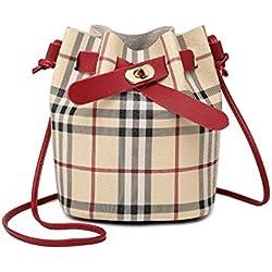 Angoter Bolsa Cubo PU de las mujeres de cuero bolso a cuadros pequeños clásico Cruz monedero del cuerpo de bolsa para las muchachas (vino tinto)