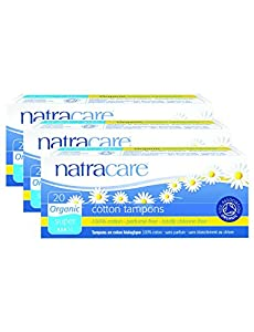 PACK OF 3 Natracare Organic Tampons Super (non-applicator)