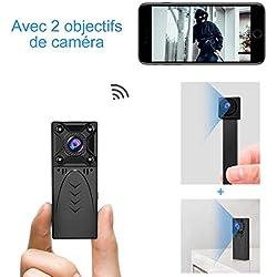 Caméra Espion Surveillance WiFi Mini - KEAN IP HD 1080P Cachée Cam Vision Nocturne Détection de Mouvement Caméra de Surveillance de Sécurité pour iPhone/ Android - 2 lentilles Spy Camera