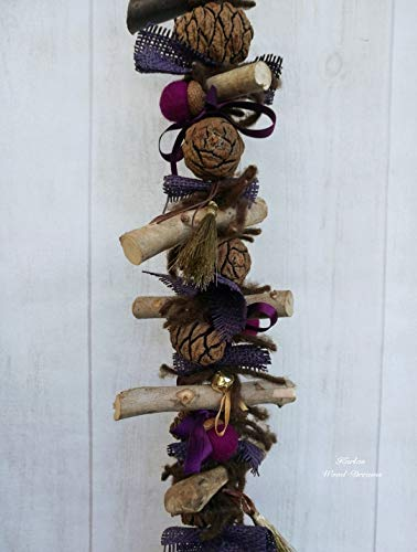 Weihnachtsdeko Glocke Quaste lila Holz Natur goldfarben